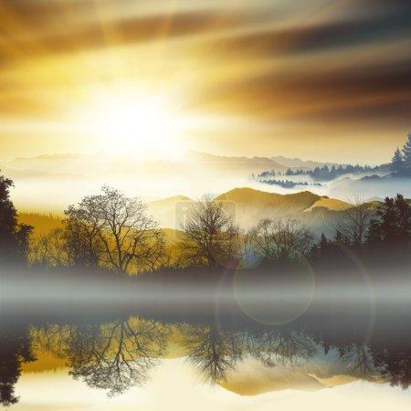 Picturesque sunset landscape