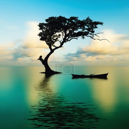 Photo for Beautiful nature landscape. boat and tree surrounded by water - Royalty Free Image