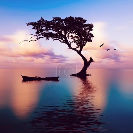 Photo pour Beau paysage. bateau et arbre - image libre de droit