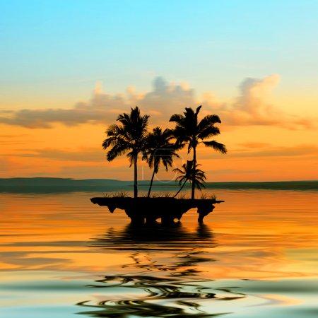 Photo pour Beau paysage avec île - image libre de droit