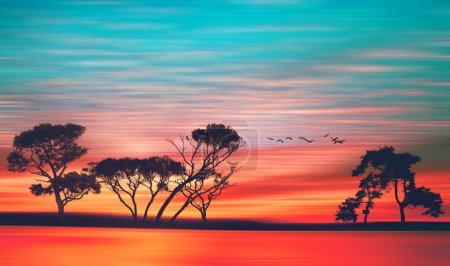 Photo for Beautiful summer landscape with birds - Royalty Free Image