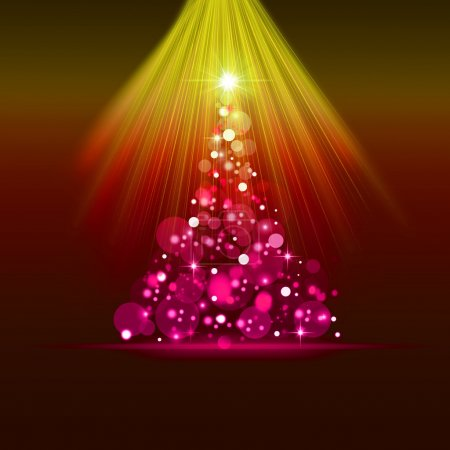 Christmas card with pink fir tree