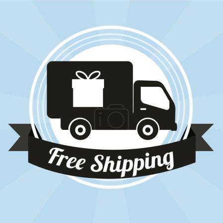 Ilustración de Free shipping illustration over color background - Imagen libre de derechos