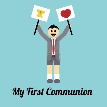 My first communion illustration over blue background