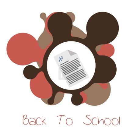 school suplies, test score  illustration over white  color backg