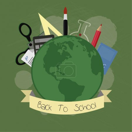 school suplies, world and elements illustration over  green colo