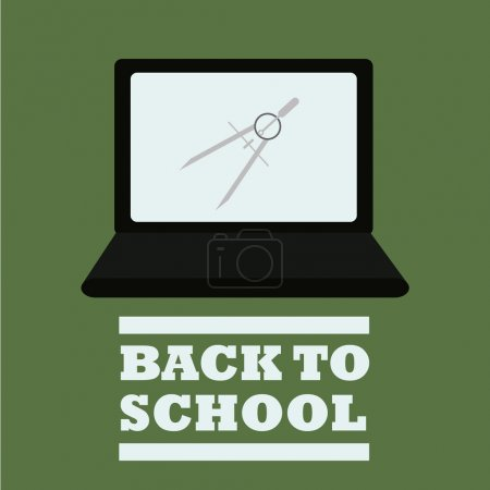 school suplies, laptop and compass illustration over green color