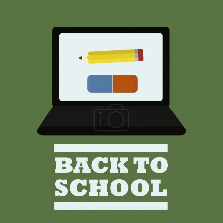 school suplies, laptop and erarser with pencil illustration over