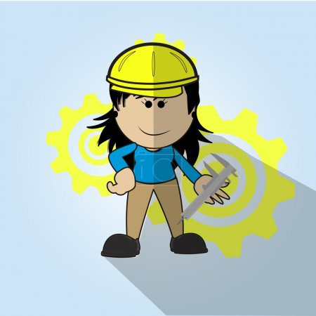 Woman with tonque wrench and pinions, over blue color background
