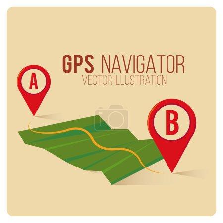 GPS Navigator  over color background
