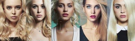 Photo pour Collage beauté blondes. Des visages de femmes. Photo de mode. Différentes belles filles blondes - image libre de droit