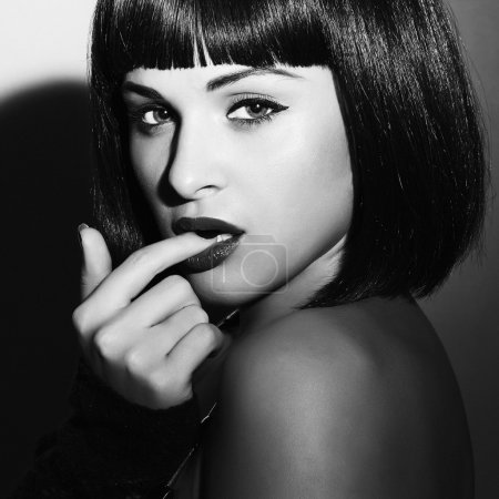 Beautiful Brunette Girl. Healthy Black Hair. bob Haircut.beauty sexy woman.flirt.black and white art