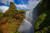 Skogafoss Waterfall during a sunny day