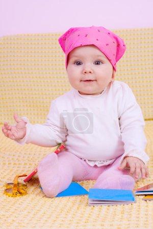 Sweet baby girl smiling