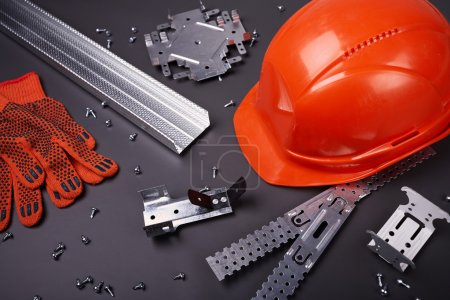 Helmet, gloves and fasteners