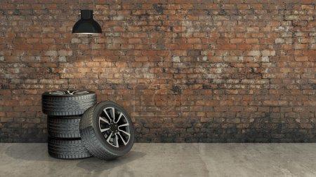 Photo pour Roue en salle vide - image libre de droit