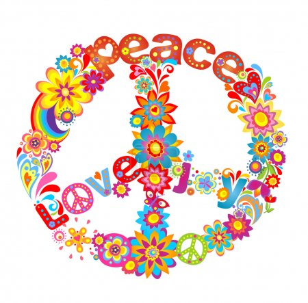 Peace flower symbol with hippie symbolic