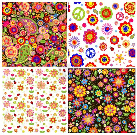 Illustration for Colorful wallpapers with funny absatrct flowers and paisley - Royalty Free Image