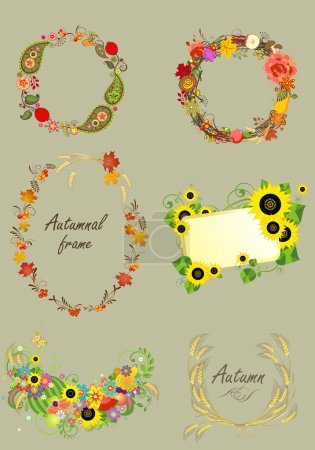 Set of autumnal frames