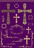 Vintage elements and golden crosses for easter design