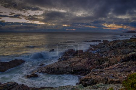 Photo for Waves flowing over the rocky coast of Maine - Royalty Free Image