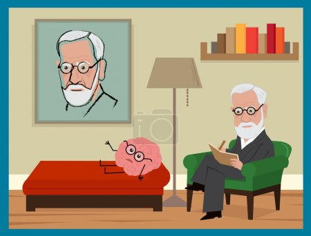 Illustration for Freud is sitting on his green couch, analyzing a brain with glasses. Eps10 - Royalty Free Image