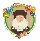 Cute cartoon of Leonardo Da Vinci holding brushes pencil and a ruler With a green circled frame and colorful gears around him Eps10