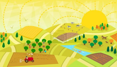 Illustration for Aerial view of a rural landscape with fields, orchard, river, animals and people. Eps10 - Royalty Free Image