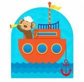 Clip art of a cute monkey sailor with a hat and a telescope sailing with his boat Eps10