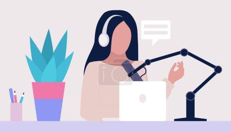 Illustration pour Livestream, Podcast en studio. Cours vidéo, webinaire. Ensemble vectoriel dans un style plat - image libre de droit