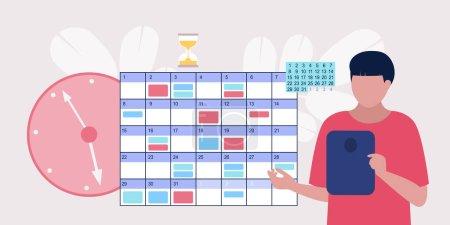 Illustration pour Jeune homme avec tablette près du calendrier en ligne. Concept de gestion du temps. Illustration vectorielle dans un style plat - image libre de droit