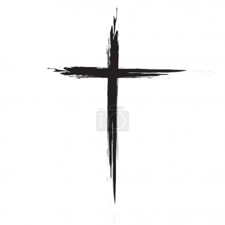 Hand drawn black grunge cross icon, simple Christi...