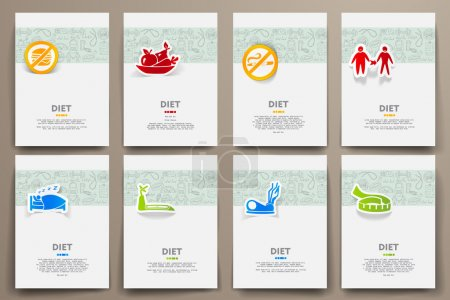 templates set with doodles diet theme