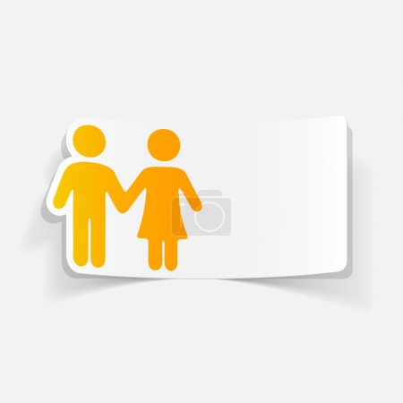 Illustration for Realistic design element: couple in love  icons ,vector illustration - Royalty Free Image
