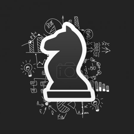 Illustration for Chess icon on business formulas background - Royalty Free Image