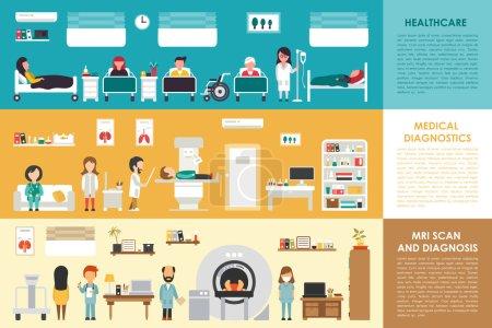 Illustration for Healthcare Medical Diagnostics MRI Scan hospital interior concept web vector illustration. Doctor, Nurse, Patient, Healthcare. Medicine service presentation - Royalty Free Image