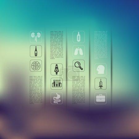 Illustration pour Infographie médicale sur fond flou, illustration vectorielle - image libre de droit