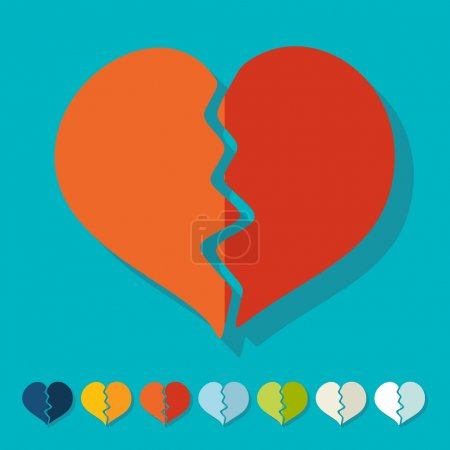Illustration for Flat design: broken heart - Royalty Free Image