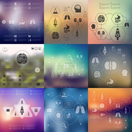 Illustration pour Infographie de la médecine avec fond flou - image libre de droit