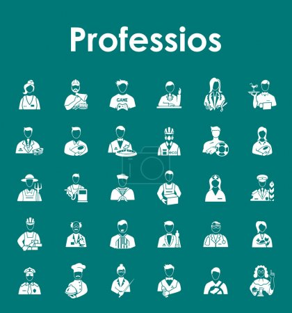 Photo pour Ensemble de professions icônes simples. Illustration vectorielle - image libre de droit