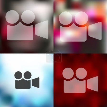 Illustration for Video icon on blurred background - Royalty Free Image