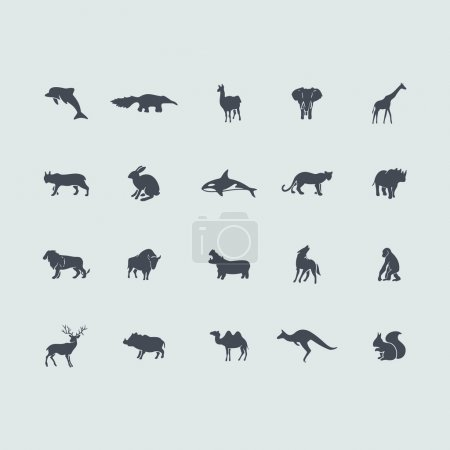 Illustration for Set of mammals icons. Vector illustration - Royalty Free Image