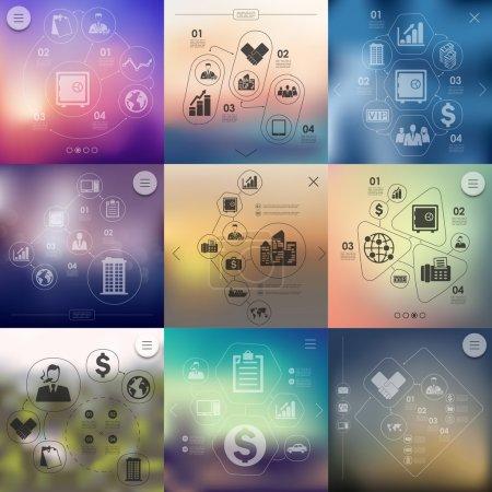 Illustration pour Infographie d'entreprise avec arrière-plan non ciblé - image libre de droit