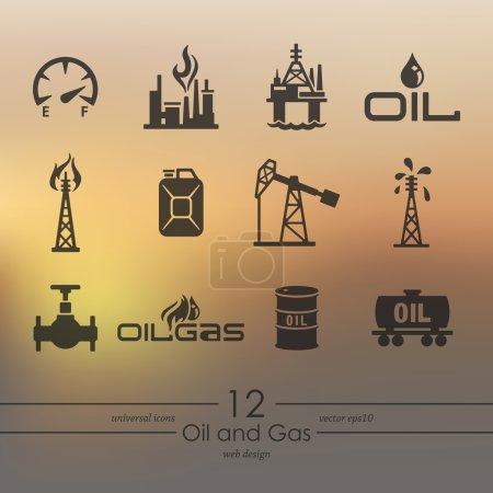 Illustration pour Icônes modernes pétrole et gaz pour interface mobile sur fond flou - image libre de droit