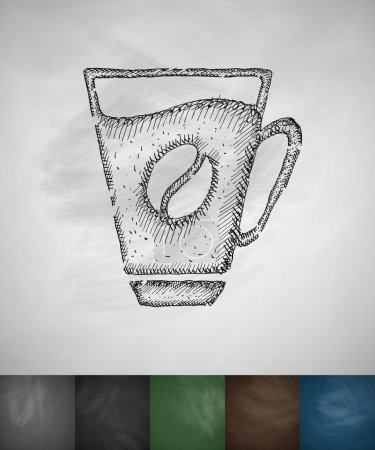 Illustration for Cup of coffee icon. Hand drawn vector illustration. Chalkboard Design - Royalty Free Image