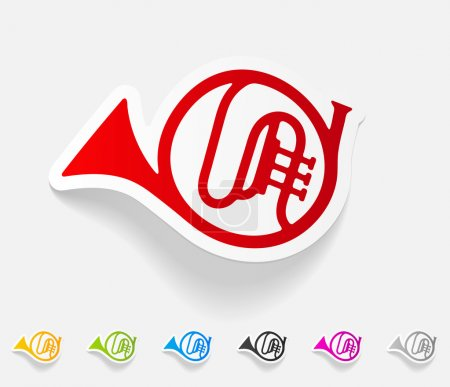Illustration for Realistic design element. french horn - Royalty Free Image
