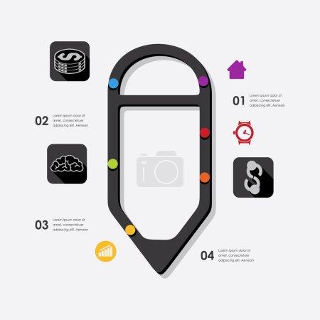 Illustration pour Icônes d'affaires d'infographique. Illustration vectorielle - image libre de droit