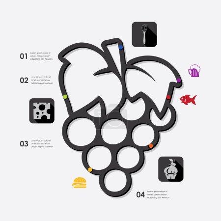 Illustration pour Icônes infographiques restaurant. Illustration vectorielle - image libre de droit