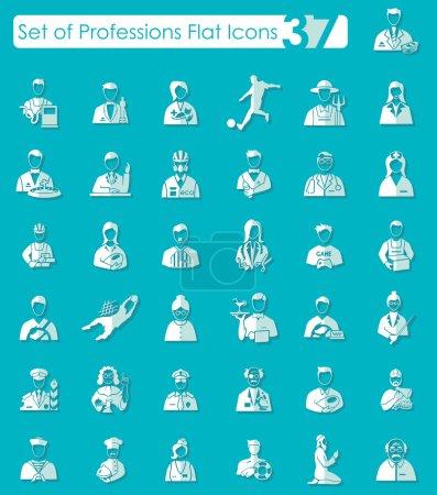Photo pour Ensemble de professions icônes plates pour applications Web et mobiles - image libre de droit