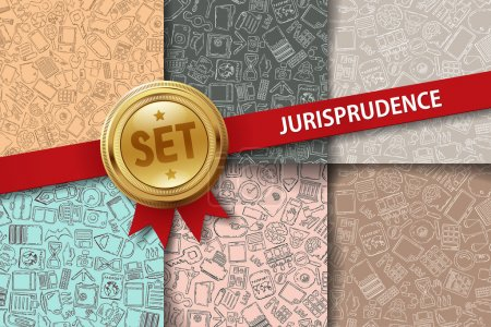 Set of jurisprudence backgrounds with doodle icons